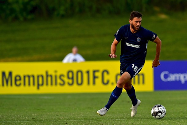Goalscorer Elliot Collier dribbles upfield at the Mike Rose Soccer Complex - 901 FC