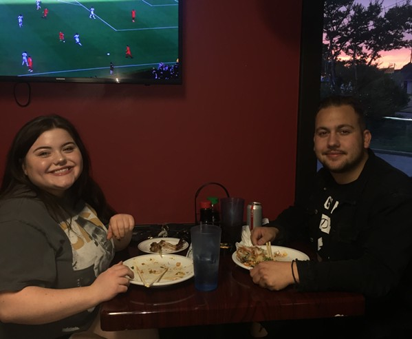 Sushi Jimmi regulars Regan Dickerson and Jaylen Roach were at the restaurant's grand re-opening. - MICHAEL DONAHUE