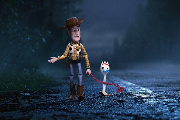 Woody (voiced by Tom Hanks) and Forky (Tony Hale) hit the road in Toy Story 4