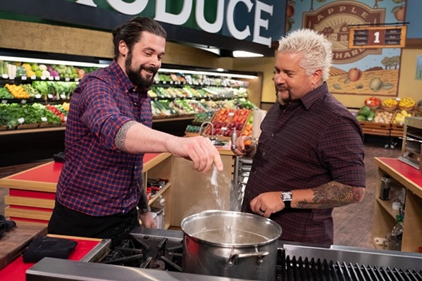 """Keith Clinton and Guy Fieri on """"Guy's Grocery Games."""""""