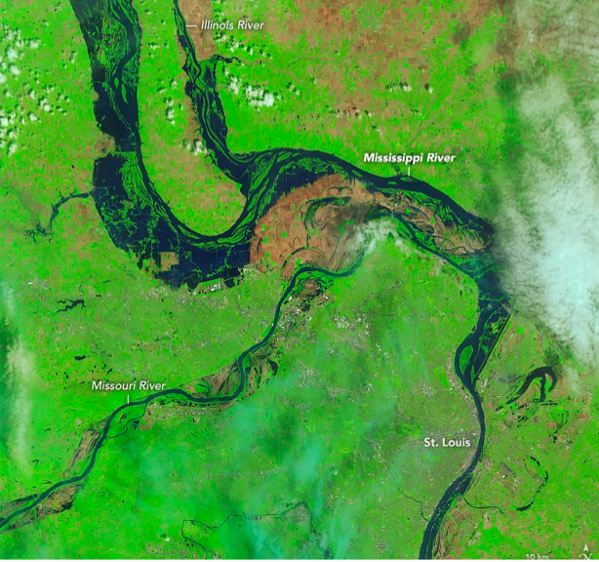 Satellite image shows the Mississippi River swelling near St. Louis. - MISSISSIPPI RIVER CITIES & TOWNS INITIATIVE