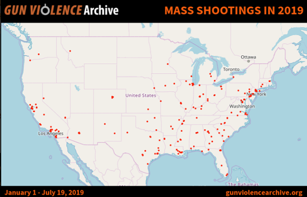 The red dots indicate mass shootings that occurred between January 1st and July 19th.