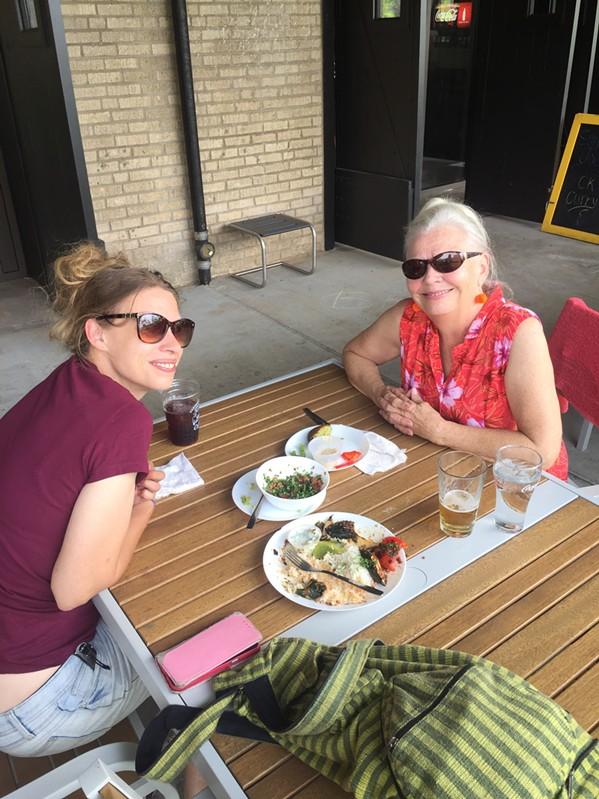 Allyson Blair and Paulette Regan at Global Cafe. - MICHAEL DONAHUE