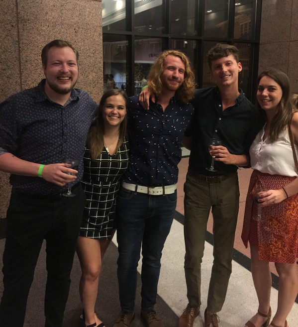 """Matt Strong, Taylor LaPorte, Daniel """"Big Red"""" Quinlan, Lee Blankenship, and - Cassie Wiegmann were at Science of Wine. - MICHAEL DONAHUE"""
