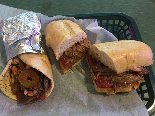 The Triple H gyro and the I'm From Memphis sandwich at Lucchesi's Beer Garfden - MICHAEL DONAHUE