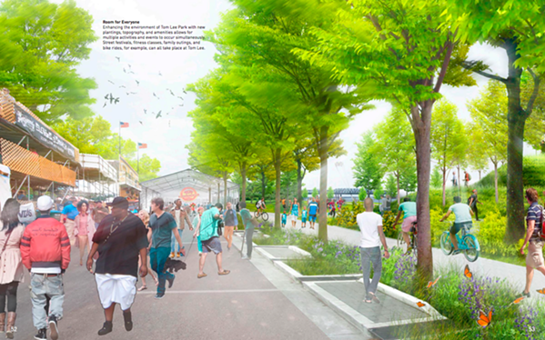 A view of Tom Lee Park from Studio Gang's 2017 Riverfront Concept Plan. - STUDIO GANG