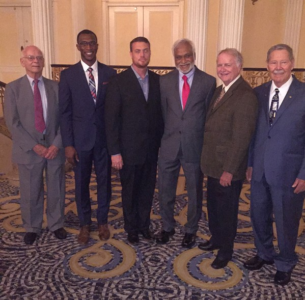 Living Awards recipients: George Cates, Dr. Jide Anyigbo, Dr. Philip Baker, (both representing Good Shepherd Pharmacy), Dr. Alim Khandekar, Dr. Bryan Simmons, Darrell Raber - MICHAEL DONAHUE