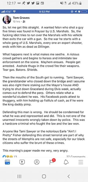Graves' controversial Facebook post