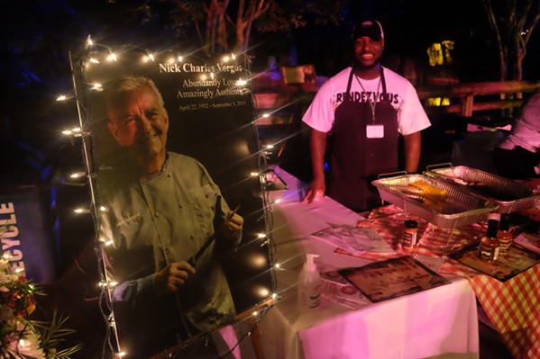 A tribute to the late Nick Vergos was at the Rendezvous booth at Zoo Rendezvous. Lorn Green helped man the booth. - MICHAEL DONAHUE