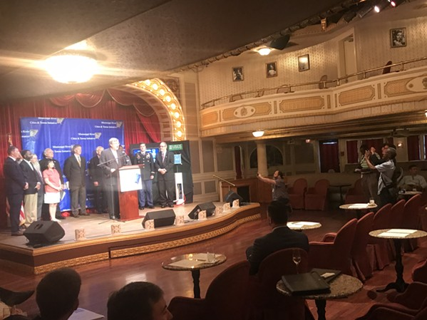 Memphis Mayor Jim Strickland speaks at a press conference for the Mississippi River Cities and Towns Initiative aboard the American Queen Monday afternoon. - TOBY SELLS