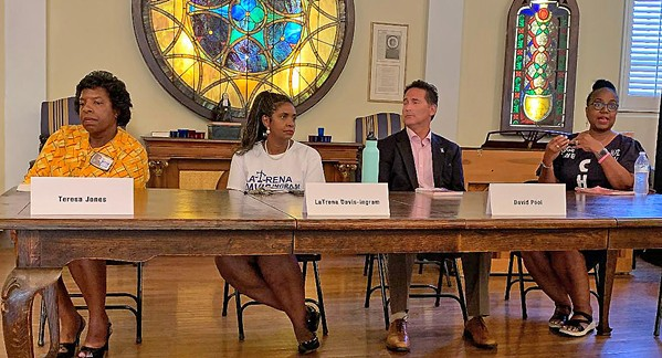 City Judge Candidates: (from left) Judge Teresa Jones, Municipal Court, Division 1; Candidate LaTrena Davis-Ingram, Division 1; Magistrate David Pool, candidate in Division 3; Judge Jayne Chandler, Division 3 - JB
