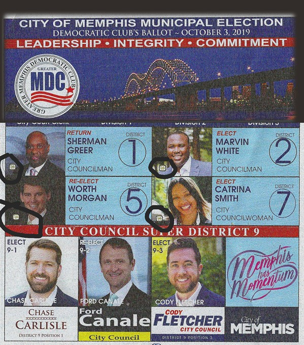 """The head of the """"Greater Memphis Democratic Club"""" sample ballot  superimposed over several of its endorsees, including known Republicans and featuring City of Memphis official seals (circled) on several of the mugshots."""