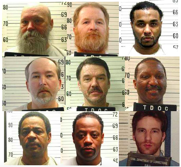 From left to right from top left: Oscar Franklin Smith, Harold Wayne Nichols, Pervis Tyrone Payne, Gary Wayne Sutton, Donald Middlebrooks, Byron Black, Farris Genner Morris, Pervis Tyrone Payne, Henry Eugene Hodges - MURDERPEDIA, TENNESSEE DEPARTMENT OF CORRECTIONS