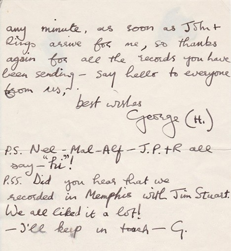 "Just imagine this ""letter from George Harrison"" about the Fabs recording at Stax in 1966"