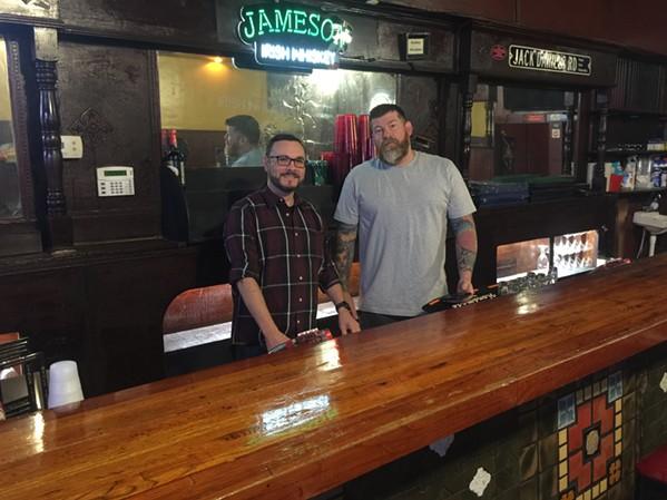Tony Westmoreland and Rick Haygood at Zinnie's. - MICHAEL DONAHUE