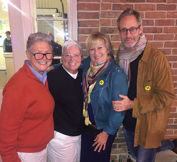 Jenna Williams and Dee Yoakum chatted with Jayne Atkinson and Michael Gill at Art on Fire. - MICHAEL DONAHUE