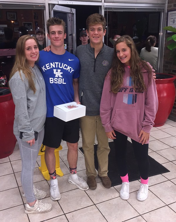 Kayla Webster, Jackson Lyons,  Trenton Lyons, and Carly Webster at Gibson's Donuts. - MICHAEL DONAHUE