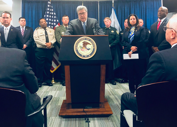U.S. Attorney General William P. Barr launches Project Guardian in Memphis Wednesday. - @KERRIKUPECDO/TWITTER