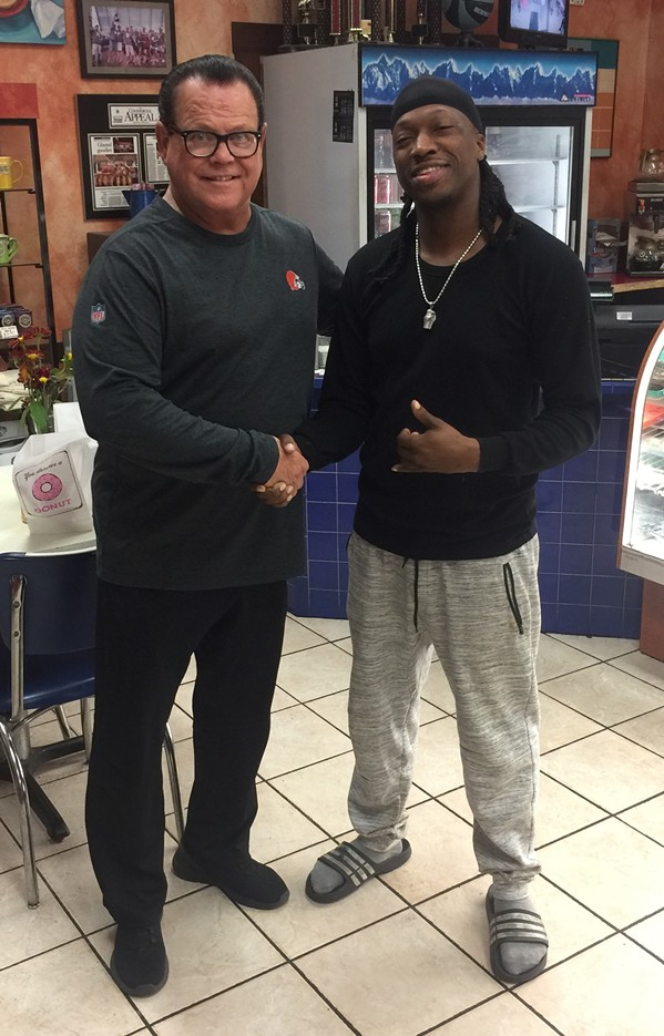 Jerry Lawler and TorRaunce Echols at Gibson's Donuts. - MICHAEL DONAHUE
