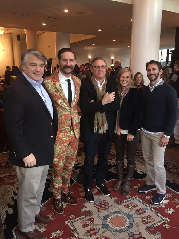 City Councilman Frank Colbert Jr., Chris Pardo, Montgomery Martin, Jennifer Oswalt, and Ezra Callahan at Arrive Hotel grand opening. - MICHAEL DONAHUE