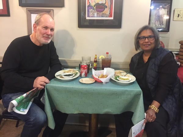 Mason Granger and Kim Hendrew in town from New York dined on Lacy Special at Little Tea Shop. - MICHAEL DONAHUE