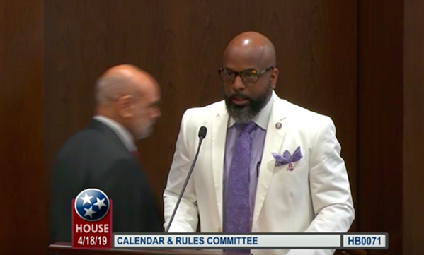 Rep. Rick Staples pitching the bill to allow alcohol sales at Zoo Knoxville earlier this year, wearing an ensemble that won him at least one vote on the bill. - STATE OF TENNESSEE