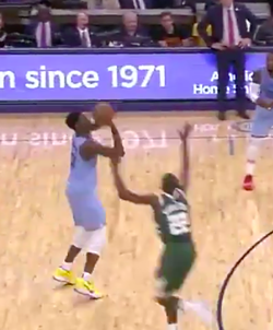 Jaren Jackson Jr. launches one of his seven third-quarter 3-poinnters