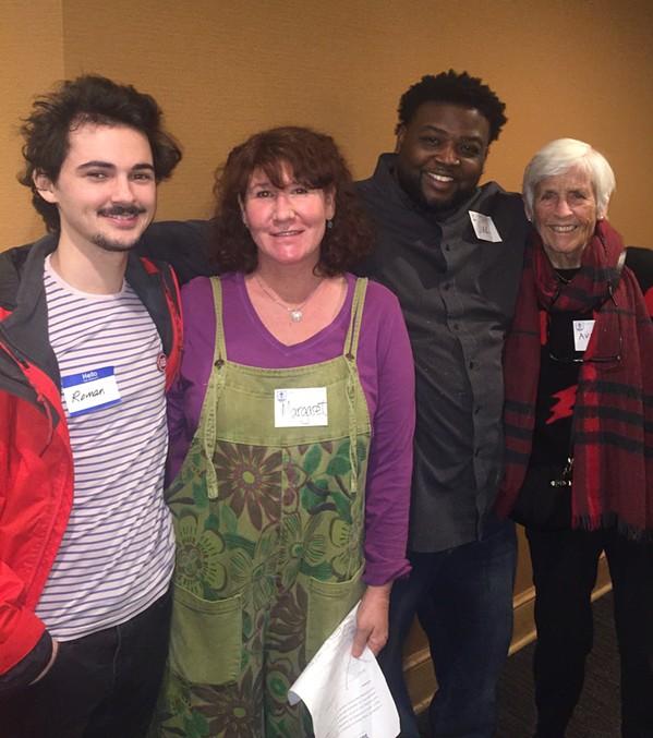"Roman Darker, Margaret Newton, Darius ""Mak"" Clayton, and Rev. Audrey Taylor Gonzalez at Calvary Episcopal Church. - MICHAEL DONAHUE"