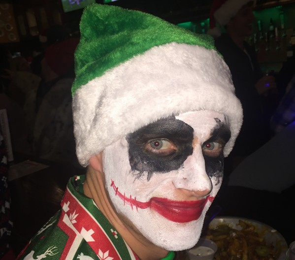 This isn't me, but I wish I'd thought of it. This is a Joker  Santa at Porter-Leath's Santa Pub Crawl. More photos follow. - MICHAEL DONAHUE