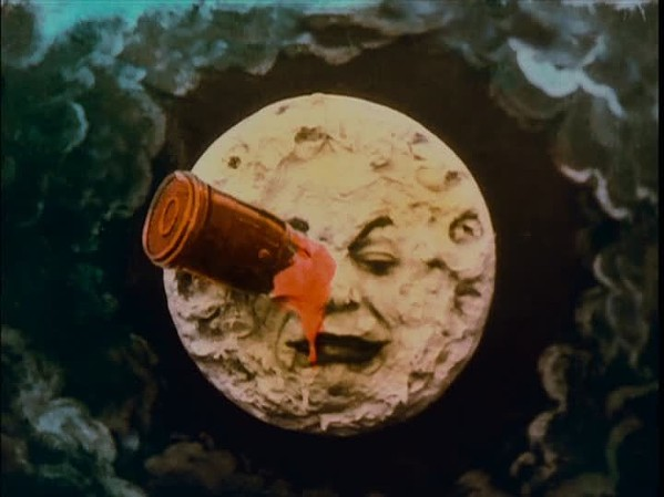"""A still from the hand-painted version of """"A Trip To The Moon"""""""