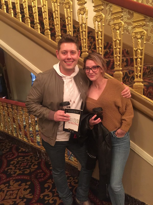 "Marty Brooks and Ashley Calhoun at ""The Play That Goes Wrong"" - MICHAEL DONAHUE"