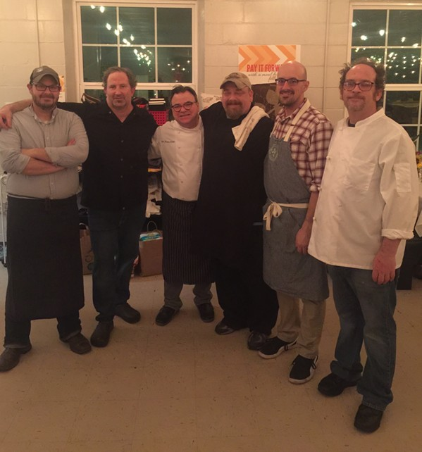 Matt Crone, Spencer McMillin, Rick Farmer, Duncan Aiken, Patrick Gilbert and Andrew Saunders at Chef's Partnership Dinner - MICHAEL DONAHUE