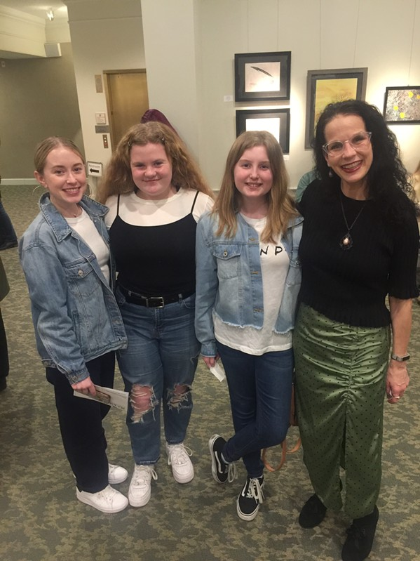 Alexis Grace (left) attended the Swedish Jam Factory performance featuring her husband, Thomas Bergstig, and Isaac Middleton. With her are Lucy Sterling, Ryan Zabielski, and Buckman Performing and Fine Arts Center director Cindi Younker. - MICHAEL DONAHUE