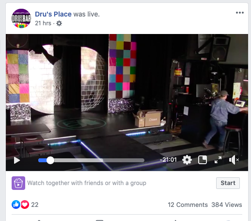 A screenshot from a live-feed test by Dru's Place yesterday. Tune in tonight and see the stage filled with the bar's famous drag artists. - DRU'S PLACE/FACEBOOK