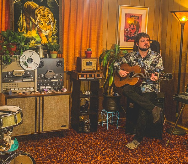 Graham Winchester live-streaming from his home studio. - ERICA WINCHESTER