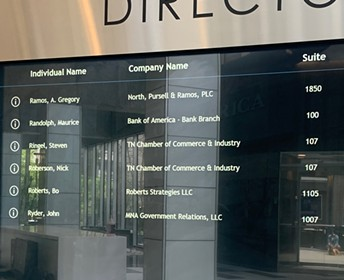 another view of the interactive lobby register in the Bank of America building - SELENE MCCLURE