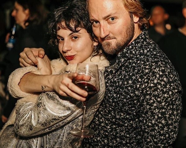 """Elisha Gold with his """"scary Viking nose"""" at a pre-quarantine party with Anna Shull."""