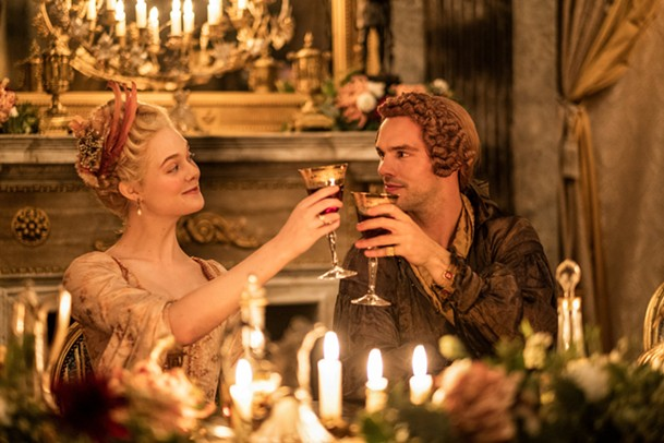 Elle Fanning and Nicholas Hoult as Catherine and Peter, a married couple plotting against each other in The Great.