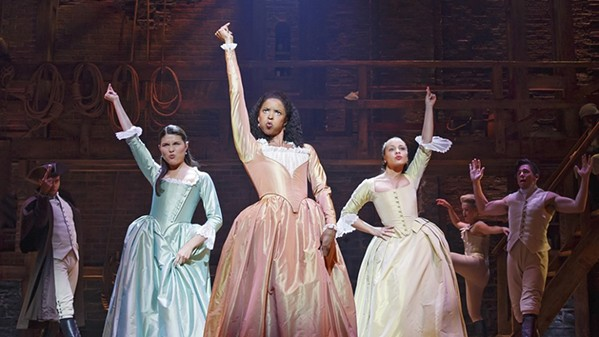 Renée Elise Goldsberry (center) as Angelica Schuyler