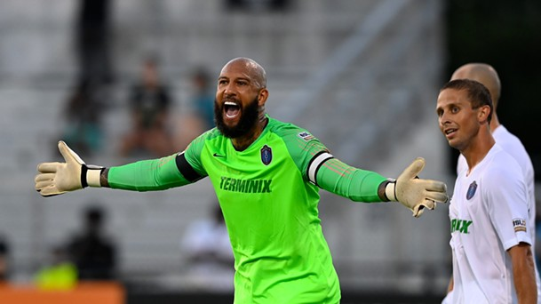 901 FC goalkeeper and part-owner Tim Howard was unhappy with the Memphis defense in Birmingham. - PHOTO BY ERIC GLEMSER