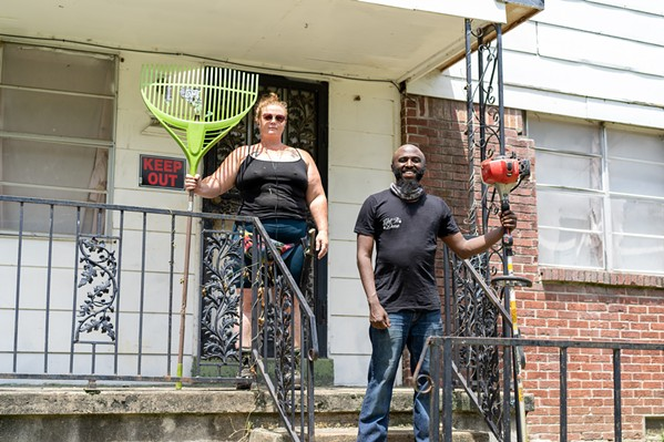 """Laruren Dunn and Jay Livingtson from Two Broke Bartenders on the job with """"DNA's Flight the Blight Program""""."""