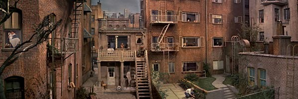 The New York City courtyard set was built in a soundstage at Paramount Studios in Los Angeles.