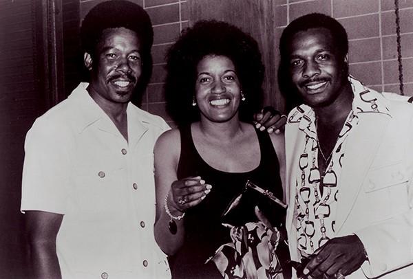 Eddie Floyd (left), Myrlie Evers-Williams, and William Bell at the Medgar Evers Memorial Festival in 1973 - COURTESY OF EDDIE FLOYD