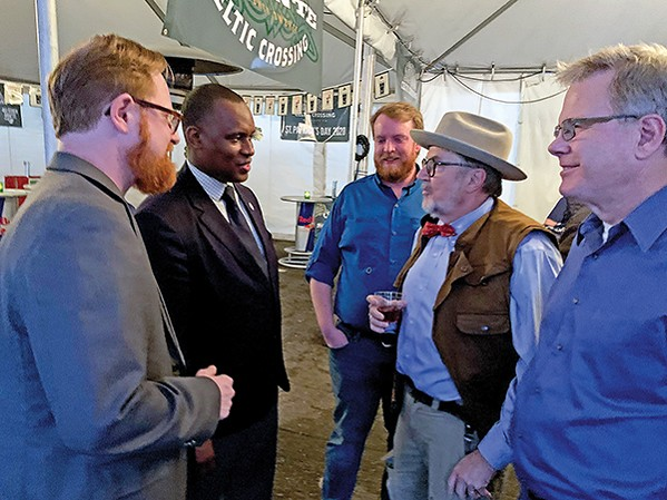 Allan Creasy (left) at a March 2020 political fundraiser at Celtic Crossing. Among those attending were (l to r) County Commissioner Van Turner, political consultant Michael Lipe, City Councilman Dr. Jeff Warren, and state Representative Dwayne Thompson.