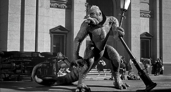 Monster on the rampage! Ymir, the star of 20 Million Miles to Earth, hits the town.
