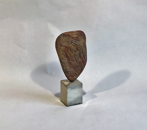 "For John McIntire's ""Cave Stone,"" the artist traded a banjo for the stone, found in Middle Tennessee, that was transformed into this beautiful sculpture."