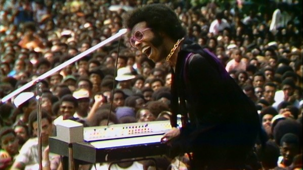 Sly Stone performs at the 1969 Harlem Cultural Festival in Summer of Soul.