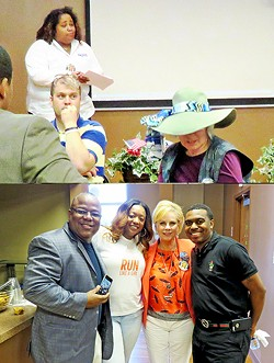 """Rep. Akbari (top,left) overseeig """"Memphis for Hillary"""" rally on Saturday; participants included (bottom, from left) state Rep. Antonio Parkinson, London Lamar, state Senator Sara Kyle, and Alvin Crook. - JB"""