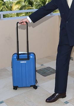 An IATA photo shows the size of a bag that fits the new proposed size guidelines. - IATA