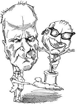 A Chris Ellis cartoon of Chris Ellis holding an imaginary Ostrander.